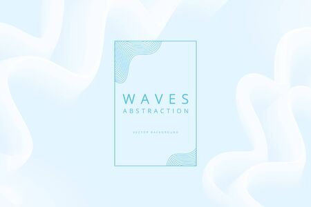 vector abstraction of white foamy waves on blue background  イラスト・ベクター素材