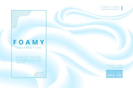 vector abstract background of a foam lite blue wave shape on white  イラスト・ベクター素材