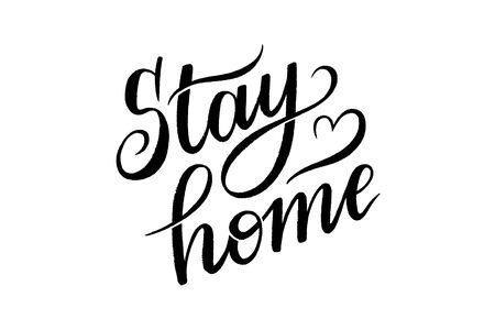 stay home vector hand lettering on white background
