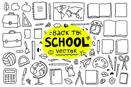 back to school, big set of vector hand drawn elements and lettering