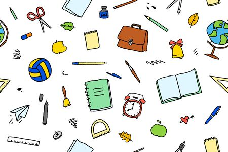 vector seamless pattern of stationery and school elements  イラスト・ベクター素材