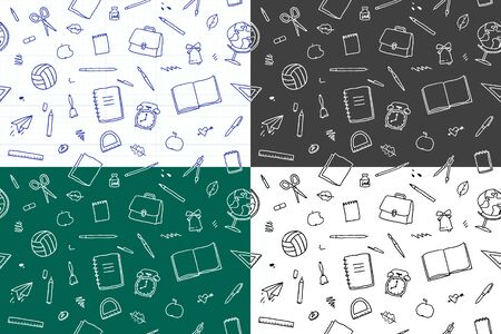 set of vector seamless patterns of school elements and stationery