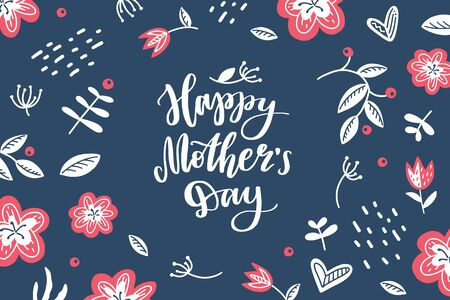 happy mothers day, vector hand lettering in scandinavian floral frame