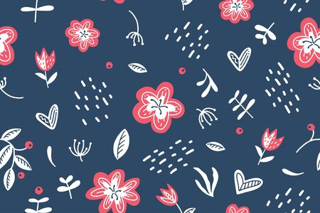 vector summer scandinavian seamless pattern of flowers, branches, leaves and berries on dark blue background