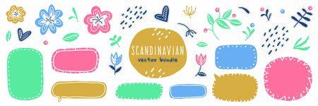 scandinavian floral elements and frames, big vector set  イラスト・ベクター素材