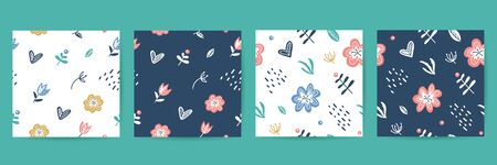 vector seamless patterns set of floral elements in scandinavian style