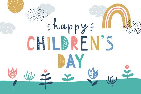 happy childrens day, cute vector greeting card with handwritten letters in scandinavian style and hand drawn landscape