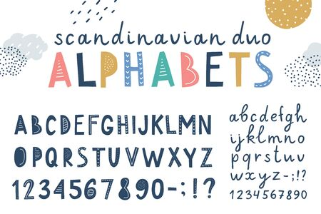 set of funny vector alphabets, lettering fonts with hand drawn elements in scandinavian style