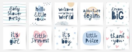 set of vector cards for baby shower party, hand lettering in scandinavian style Çizim