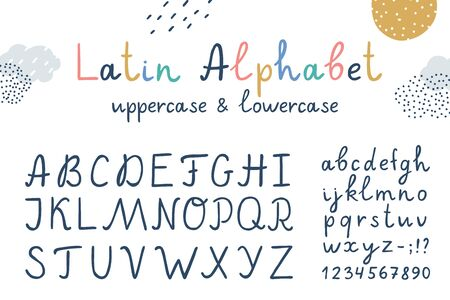 vector funny childrens latin hand drawn alphabet, uppercase and lowercase characters
