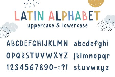 vector latin funny childrens cartoon alphabet, uppercase and lowercase characters  イラスト・ベクター素材