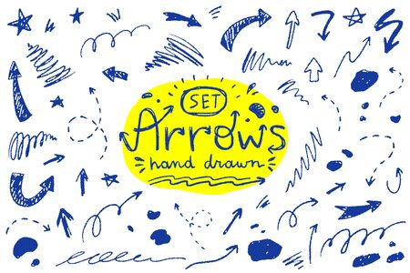 vector set of hand drawn elements, arrows, brush strokes, blots and stars