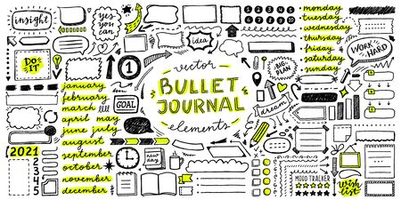 big vector set of frames, arrows, lettering, icons and elements for bullet journal
