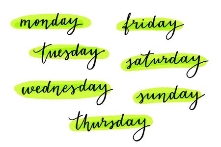 Vector hand lettering weekday names on white. Monday, tuesday, wednesday, thursday, friday, sunday and saturday.