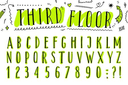 vector hand drawn rough latin narrow uppercase font, lettering with bright acid green brush stroke and hand drawn elements
