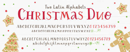 Vector set of two hand drawn latin alphabets in christmas design