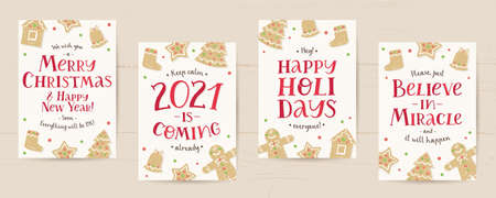 set of vector christmas cards with gingerbreads