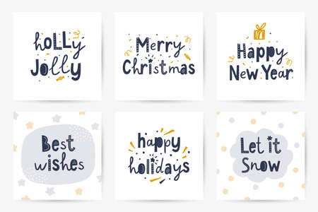 vector set of lettering christmas greeting cards  イラスト・ベクター素材
