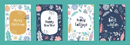 set of vector scandi christmas greeting cards  イラスト・ベクター素材