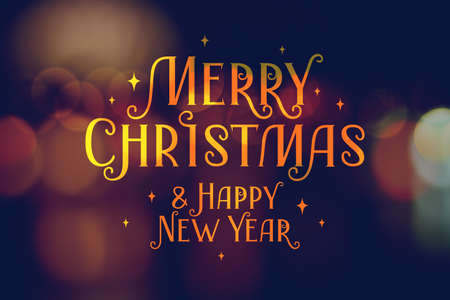merry christmas and happy new year, vector greeting card, lettering on blurred background