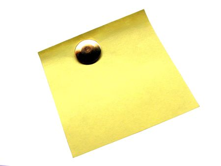 thumbtacked:           Blank yellow adhesive note against white background