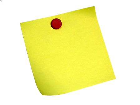 Yellow Sticky Note with Push pin on white back ground Stock Photo