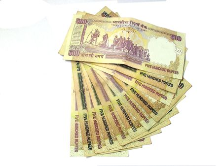 indian money:           Indian Bank notes -500 Rupees on white