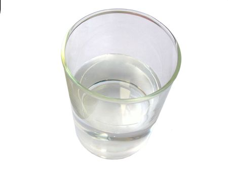 tall glass:           Top view of a glass with water in it. Stock Photo