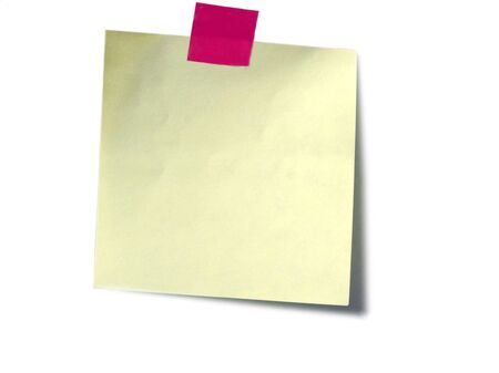 A yellow sticky note with red tape on white Stock Photo