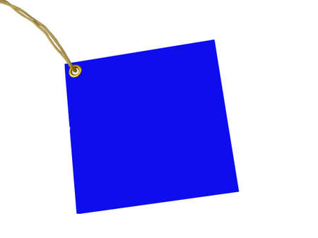 Blank Blue tag tied with brown string Stock Photo - 2397067
