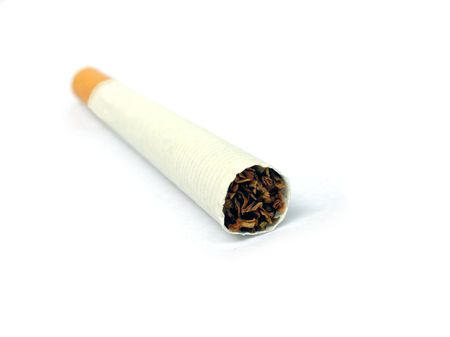 quiting:           close up of a cigarette on white