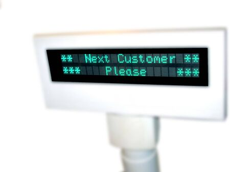 Cash Register Sale Display-showing LEDS displaying Next Customer Please Stock Photo