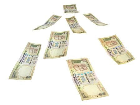 Money Falling From Above-INR 500 Indian Rupee bank notes on whitebackground Stock Photo