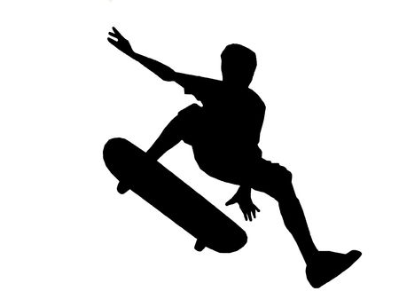 skateboarder jumping a ramp on white