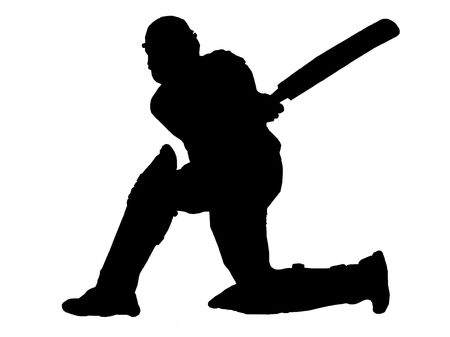 cricket field:           Cricket Player- batting action Stock Photo