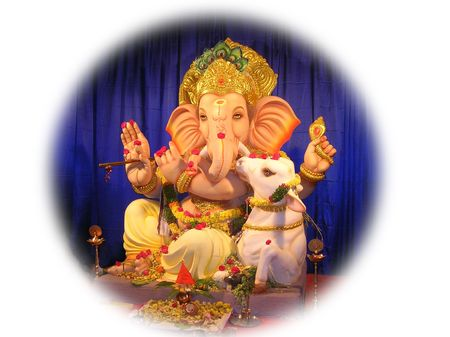 idol:            Lord Ganesha with cow-annual event of Ganesh festival  celebrations-the idols are worshipped for 11 days and immersed in water after the festival