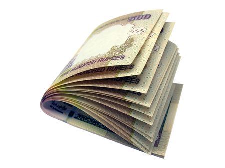 foreign currency:           Indian currency-INR 500-Indian rupees folded Stock Photo