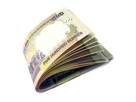 Indian currency-INR 500-Indian rupees folded in to half Stock Photo