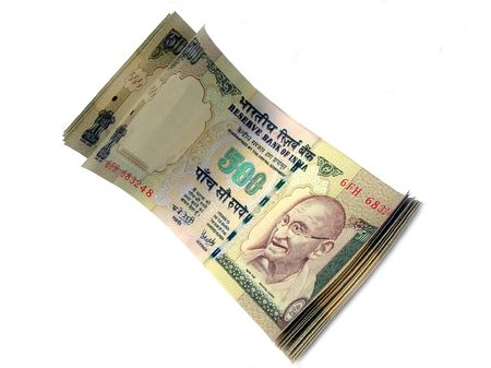 indian money:           Indian Currency-INR 500-stacked on white