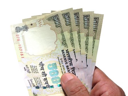 Hand Holding Money-Indian Currency photo