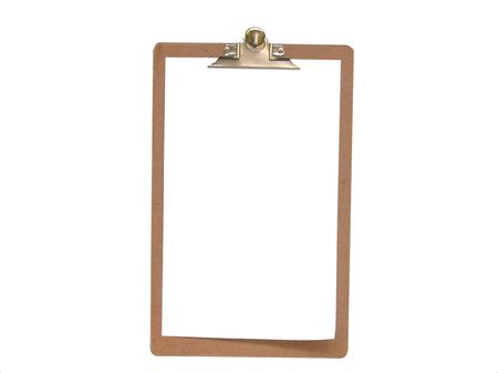 Blank Clipboard-over head view Stock Photo