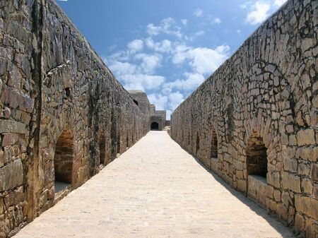 golconda:           Path way -stone construction in golconda fort,India Stock Photo