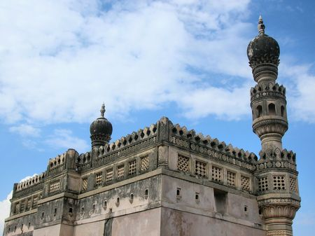 golconda:           Sultan Ibrahim Outub shahi Mosque-Built during 1550-1580 AD First building in Golconda Fort,India  Stock Photo
