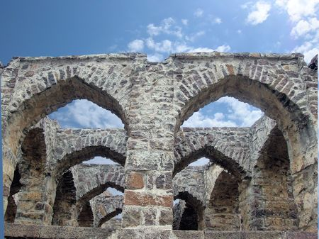 golconda:           stone construction in golconda fort,India-2 Stock Photo