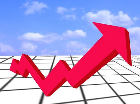 Financial Growth-red arrow depicting financial growth against blue sky Stock Photo
