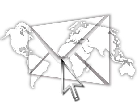 Email cocept with world map background