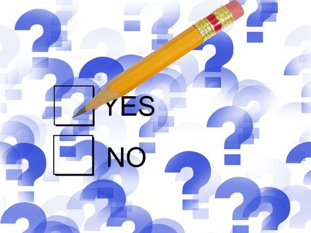 Check Yes-yes and no check boxes with pencil and question mark background Stock Photo - 3681843