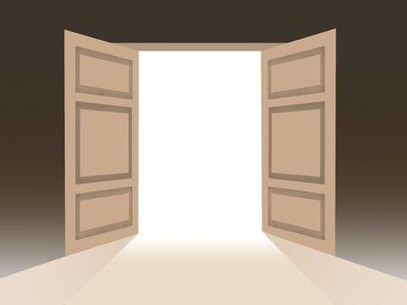 Concettuale illustrazione di porte aperte