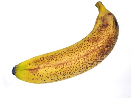 rotten banana isolated on white Stock Photo