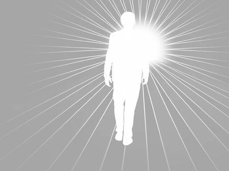 Man Walking towards Light photo